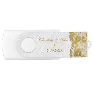 Royal White Gold Save Date Thank gift 8 GB White Swivel USB 2.0 Flash Drive