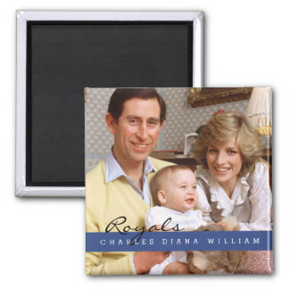 Royals Charles Diana and William Square Magnet