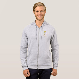 Royalty fashion co mens egyptian gold cross hoodie