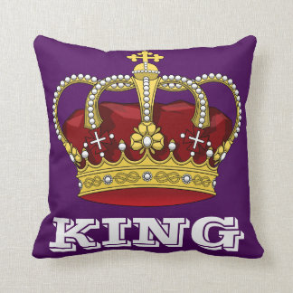 Royalty King Crown Royal Purple & Initial Letter Cushion