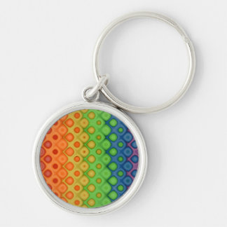 ROYGBIV Rainbow Bubbles Distorted Colors Silver-Colored Round Key Ring