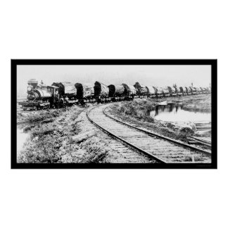 RR Train with Redwood Logs 1919 Poster