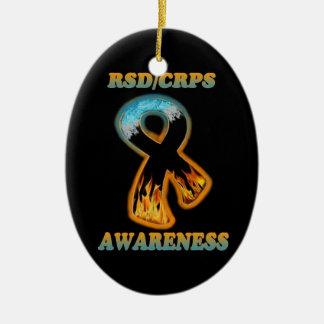 RSD/CRPS Awareness ribbon  (ice/fire) Ceramic Oval Decoration