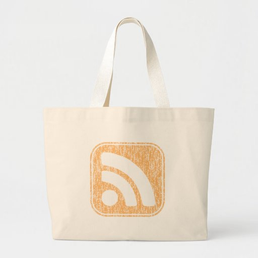 RSS Icon Button Weathered Design Tote Bags