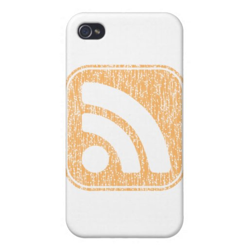 RSS Icon Button Weathered Design Cases For iPhone 4