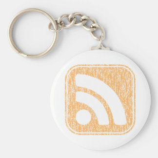 RSS Icon Button Weathered Design Keychains