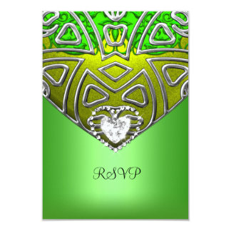 RSVP 15th Quinceanera Party Lime Green Diamond 9 Cm X 13 Cm Invitation Card
