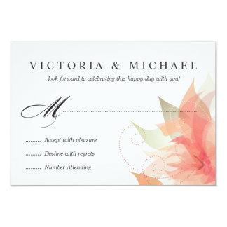 RSVP 2-Sided Peachy Orange Floral 9 Cm X 13 Cm Invitation Card