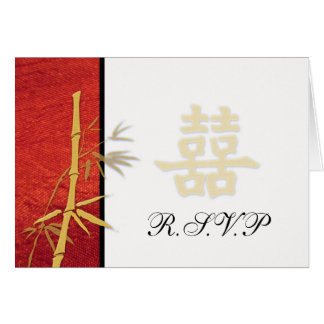 RSVP - Asian Red Double Happiness Wedding RSVP Card