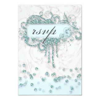 RSVP Baby Shower Boy Marble Blue Glitter Confetti 9 Cm X 13 Cm Invitation Card