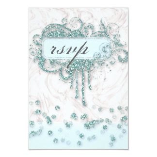RSVP Baby Shower Boy Marble Blue Glitter Confetti Card