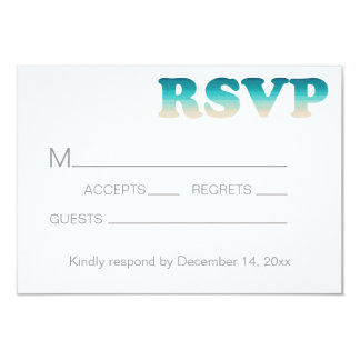 RSVP Beach Wedding Watercolor Ombre Card