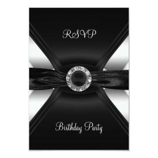 RSVP Birthday Diamond Jewel Black White Silver 9 Cm X 13 Cm Invitation Card