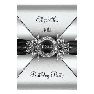 RSVP Birthday Diamond Jewel Black White Silver Card