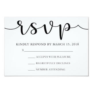 RSVP Black and White | Simple Calligraphy Card
