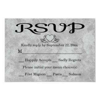 RSVP Black & Gray Watercolor Heart Party Wedding 9 Cm X 13 Cm Invitation Card