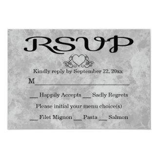 RSVP Black & Gray Watercolor Heart Party Wedding 9 Cm X 13 Cm Invitation Card