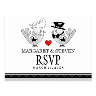 RSVP Black Love Wedding Birds Reply Postcard