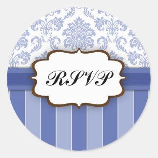 RSVP - Blue Damask Stripe Sticker