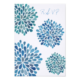 RSVP Blue Floral Blooms Wedding Card Personalized Announcement