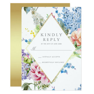 RSVP | Blue & Purple Watercolor Blossom with Gold Card
