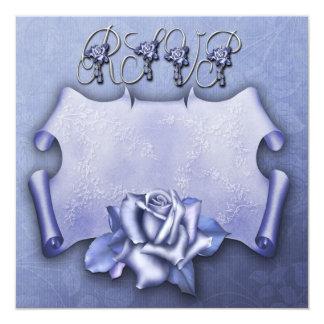RSVP Blue Rose card 13 Cm X 13 Cm Square Invitation Card