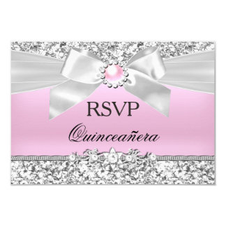 RSVP Blush Pink Glitter Pearl Bow Quinceanera 9 Cm X 13 Cm Invitation Card