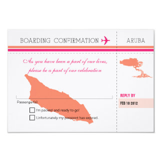 RSVP Boarding Pass TO Aruba Card