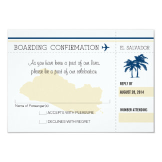 "RSVP Boarding Pass TO El Salvador 3.5"" X 5"" Invitation Card"