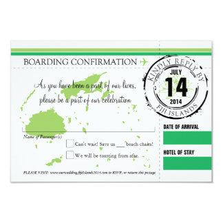 RSVP Boarding Pass to Fiji Islands 9 Cm X 13 Cm Invitation Card
