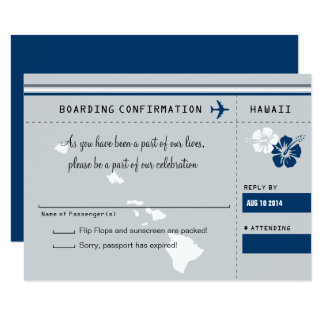 RSVP Boarding Pass TO HAWAII Gray and Blue Card