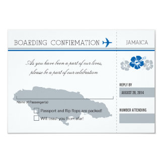 RSVP Boarding Pass TO JAMAICA 9 Cm X 13 Cm Invitation Card