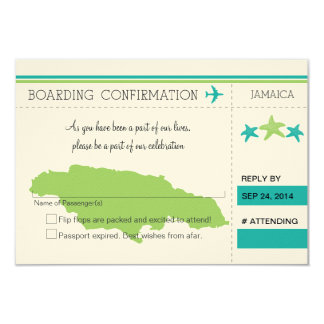 RSVP Boarding Pass TO JAMAICA Personalized Invitation