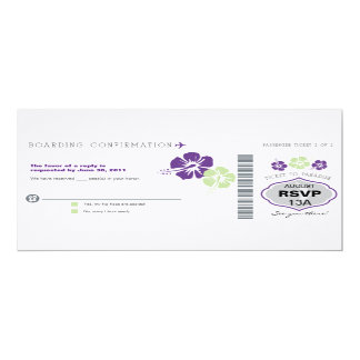 RSVP Boarding Pass Wedding 10 Cm X 24 Cm Invitation Card