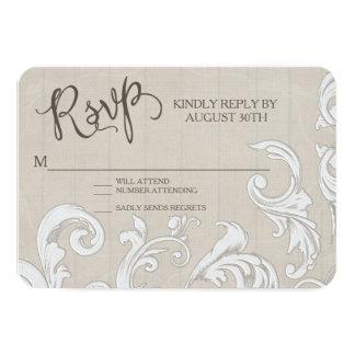 RSVP BOHO Farm Barn Lace Bohemian Wood Wedding 9 Cm X 13 Cm Invitation Card