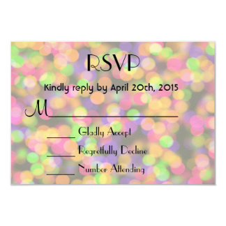 "RSVP Bright and Sparkling Lights Bokeh Pattern 3.5"" X 5"" Invitation Card"