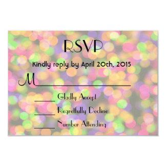 "RSVP Bright and Sparkling Lights Bokeh Pattern 3.5"" X 5"" Invitation Card"