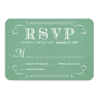 RSVP Burlap Mint Green Rustic Deluxe Reply 9 Cm X 13 Cm Invitation Card