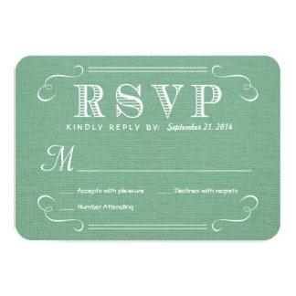 RSVP Burlap Mint Green Rustic Deluxe Reply 9 Cm X 13 Cm Invitation Card