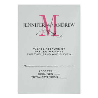 RSVP Card for Square Wedding Invite Pink Initial