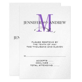RSVP Card for Square Wedding Invite Purple Initial