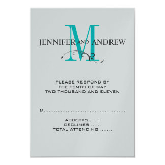 RSVP Card for Square Wedding Invites Blue Monogram