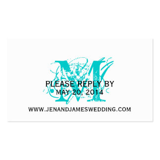 RSVP Card for Wedding Website Aqua Chic Monogram Double-Sided Standard Business Cards (Pack Of 100)
