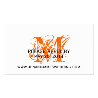 RSVP Card for Wedding Website Orange Chic Monogram Double-Sided Standard Business Cards (Pack Of 100)