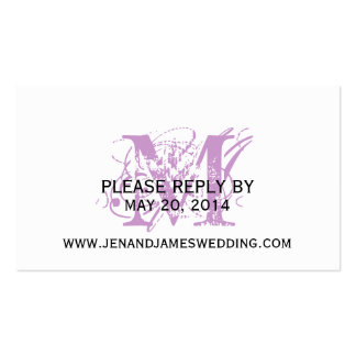 RSVP Card for Wedding Website Purple Chic Monogram Pack Of Standard Business Cards