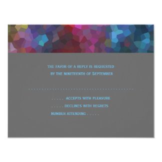 RSVP Card Red Purple Blue Gray Abstract Design