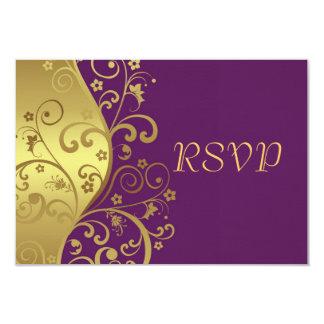 RSVP Card--Red Violet & Gold Swirls 9 Cm X 13 Cm Invitation Card