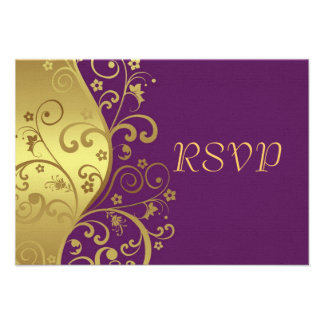 RSVP Card--Red Violet & Gold Swirls Announcements