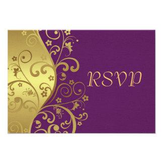 RSVP Card--Red Violet Gold Swirls