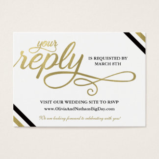 RSVP Card, Reply, Always & Forever, Faux Gold Business Card